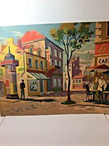 Vintage 50's MCM Paris Street Scene Paint by Number 16 X 20
