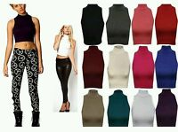 New WOMENS LADIES SLEEVELESS POLO TURTLE NECK STRETCH CROP TOP VEST Size 8 - 14