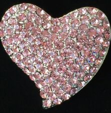 PINK SILVER RHINESTONE VALENTINES DAY FRIEND LOVE CUPID HEART PIN BROOCH JEWELRY
