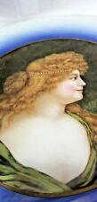 """Antique Stone Litho Glass Flue Cover BEAUTIFUL WOMAN PORTRAIT Victorian 9.5"""""""