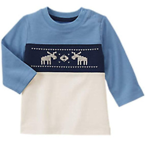 Gymboree Baby Boy Fair Isle Moose Tee, Size 0-3 Months, Retail $18.95