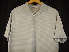 Nike Golf Dri Fit Short Sleeve Polo Shirt Gray White Stripe L Nwot