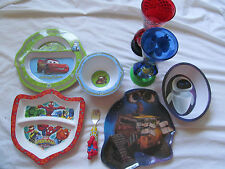 Lot of Baby Feeding Cups~Plates~Bowls Disney Cars Wall-E Spider-Man Toy Story