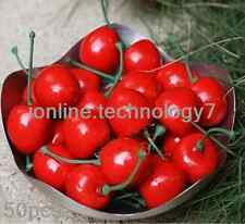 50 pcs fake Small Red cherry Plastic artificial fruit House Party kitchen decor