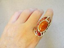KNUCKLE LONG Ladies RING RED OPAL Coral 9.5 $500 Sterling Silver 925 T