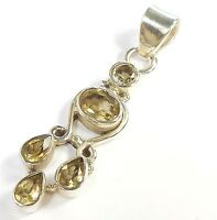 CITRINE GEMSTONE 925 STERLING SILVER PENDANT OVAL ROUND PEAR CUT STAMPED 5.7 g