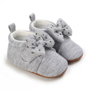Lovely Bow Newborn Baby Girl Soft Crib Shoes Infant Toddler First Step Trainers