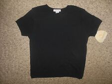 NWT! Cherokee Womans Small Solid Black Crew Neck S/S Sweater Shell Cotton