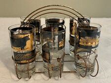 Vintage Mid Century Drinking Glasses Set Of 6 With Caddy Black And Gold Design
