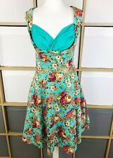 Lindy Bop VINTAGE 50 s Audrey Turquoise Ou Rose Floral Robe Swing 10-18 Neuf avec étiquettes