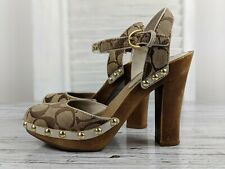 Coach Carleen Sig Wooden Platform Heel Closed Toe Sandals Size 6 M