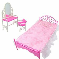 Fashion Lace Princess Bed +Dressing Table & Chair Furniture Set for Barbie Dolls