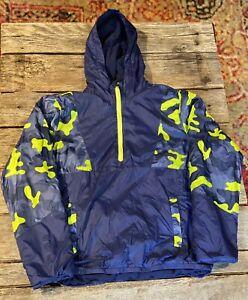 Yourh XL Lands End 1/4 Zip Blue Yellow Camo Pullover Jacket Fleece lined 14-16