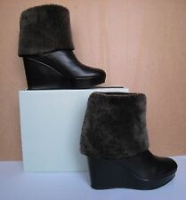 Stuart Weitzman SNOWY Black Nappa Leather Shearling Lined Wedge Boots Sz 8-8.5US