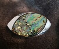 Vtg EXQUISITE Signed ABALONE Paua SHELL Silvertone eye shape BROOCH Pin abstract