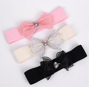 Women Retro Bow Ribbon Pearl Lace Elastic Stretchy Dress Waist Belt Band Wrap