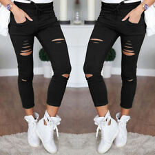 Womens Stretchy Faded Ripped Slim Fit SKINNY Jeggings Trousers Ladies Pants Black 2xl / UK 14-16