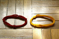 2 Mt RED & YELLOW GUITAR ELECTRIC 22 AWG VINTAGE CLOTH COVERED WIRE -