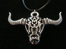 An Ornate LONG HORN CATTLE SKULL Pendant on 45cm Black Leatherette Necklace