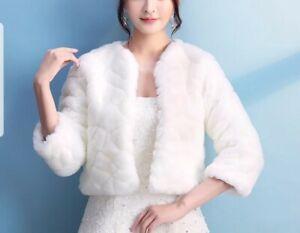 UK Fur Jacket Winter Bolero 3/4 Sleeve Wedding Jacket Accessories Bridal Jacket