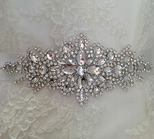 Bridal Wedding Dress Belt Sash Diamante Bling Sparkle Crystal Ivory Ribbon B108