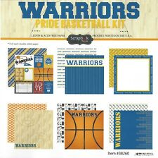 SC - Warriors Basketball Scrapbooking Paper KIT - 12 pages - 12 Designs