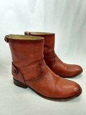 Frye Melissa Button Back Zip Short Boot Cognac Size 8.5 Ankle Booties