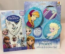 Disney Frozen Elsa & Anna 2 Boca Beach Pool Towel Clips & 2 Pages Of Tattoos New