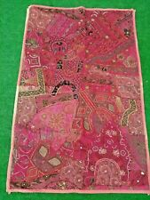 Real Vintage Antique India Wall Hanging Boho Hand Embroidered Mirrors textile