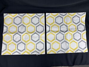 """2 Geometric Design Couch Home Decor Throw Pillow Covers Sq 18 """"X18"""" Yellow Gray"""