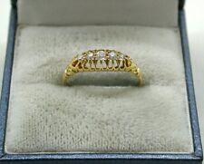 Hermoso Antiguo Oro 18ct Piedra Anillo de diamantes de cinco Gitano