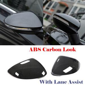 Paar Carbon Look Spiegelkappen mit Spurassist Passt für VW Golf 8 VIII MK8 20-21