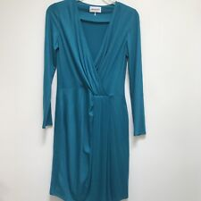Emilio Pucci Blue Wool Dress Long Sleeve Faux Wrap Belted Italy 46 12