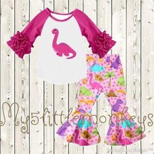 NEW Dinosaur Ruffle Sleeve Shirt & Bell Pants Boutique Girls Outfit Set