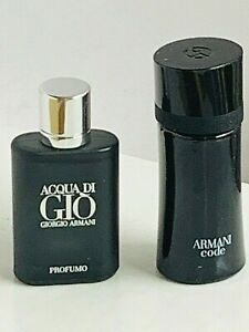 Acqua Di Gio Profumo + Armani CODE  -2 PERFUME MINI splash for Man 5 ml each