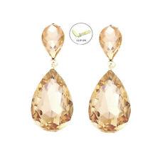 Lange Ohrclips Clips Clip Ohrringe Kristall Honig Gold Tropfen 4,5 cm Lang