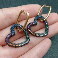 heart drop Hoop Earrings for Women Geometric Earring Rainbow CZ Jewelry