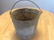 "Vintage Antique Farm Galvanized Metal Bucket Garden Pail Planter 10"" Tall"
