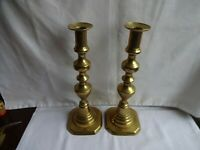 """ANTIQUE PAIR OF BRASS VICTORIAN BEEHIVE CANDLESTICKS HEIGHT 11"""""""