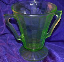 Vaseline Glass Ice Cream Sherbet Glass Dish Cup Handled Black Light