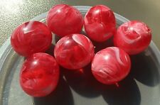 Vintage German Bold Vibrant Pink w White Swirl Yummy Oval Lucite Focal Bead Lot