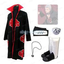Naruto Akatsuki Hidan Robe Shoe Necklace Ring Headband Cosplay Costume Halloween