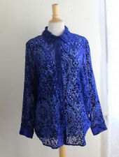 NEW Covington Sz L COBALT Art-to-Wear Velvet Burnout Electric Devore Shirt Tunic