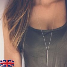 Unisex Simple Long Necklace Gold and Silver Bar Drop - UK SELLER FREE P&P