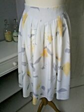 ST MICHAELS m&s vintage skirt UK 12 floral white grey yellow rockabilly 80s