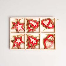 12x Festive Gingham Heart, Star, Christmas Tree, Hanging Decorations / Ornaments