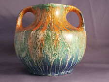 1930s Art Deco Wade Heath Orcadia Ware Drip Glaze Pottery Double Handled Vessel