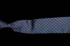 Mens BROOKS BROTHERS Tie, Orange Gold Diamond Windowpane on Ocean Blue Twill
