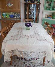 "Vintage Italy Linen Lavish Tablecloth Crochet Embroidery 64 x 82"" w 12 Napkins"