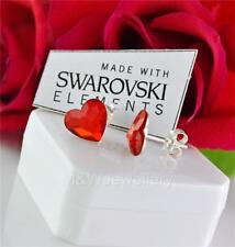 925 Sterling Silver Stud Earrings HEART Light Siam 10mm Crystals From Swarovski®